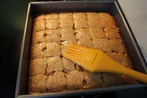 semolina cake syrup brushing