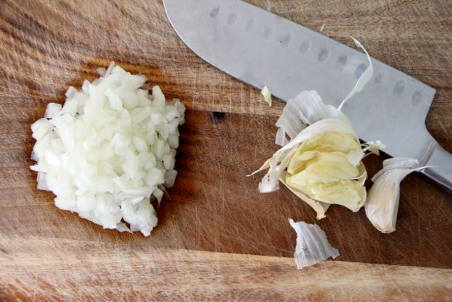 chopped onions and smashed garlic