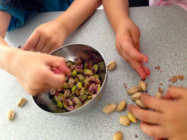 kids and pistachios