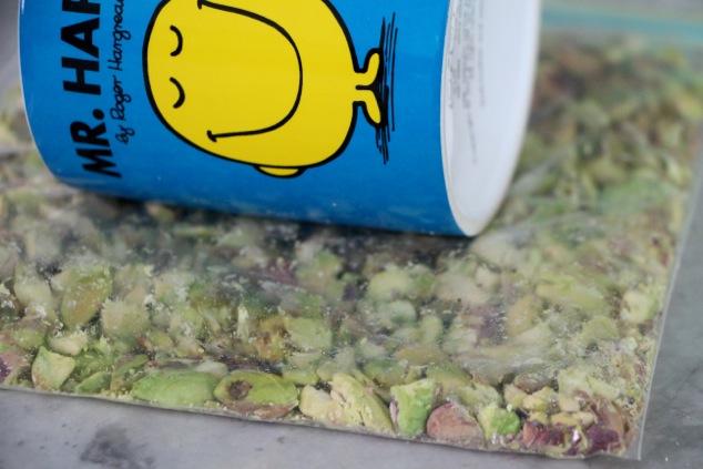 smashing pistachios up close