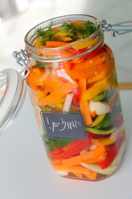 a jar of pickled vegetables