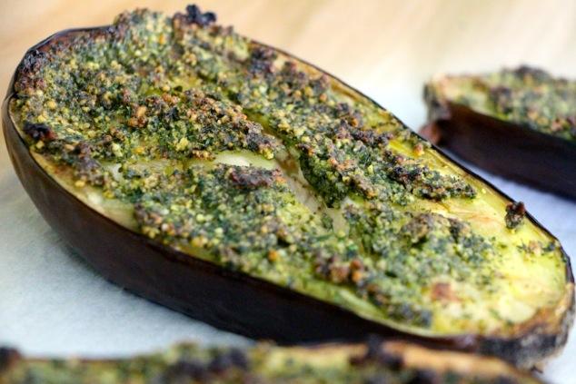 roasted eggplant up close