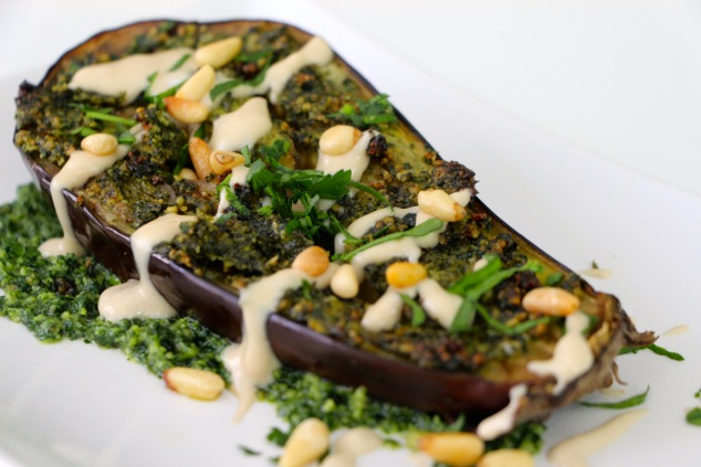 roasted eggplant plated and served