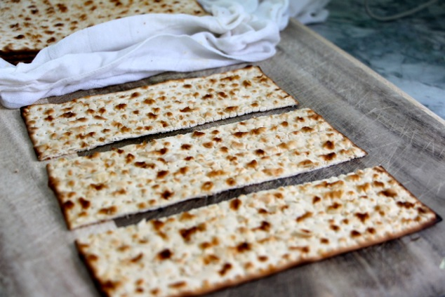 cutting soft matzah into three