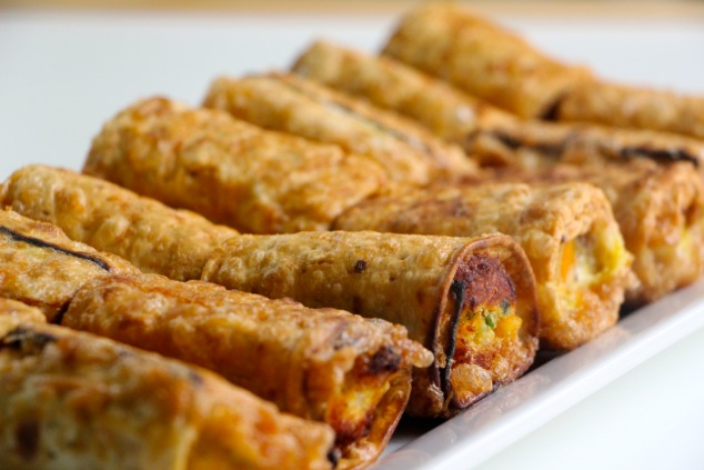 matzah eggrolls ready on tray