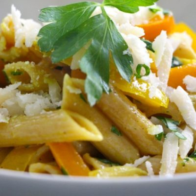 """""""…P is for Pasta…"""" – Peppers, Parmesan and Parsley Pene Pasta"""