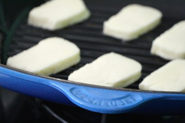 halloumi cheese in grill pan