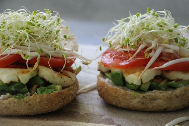 two halloumi sandwiches