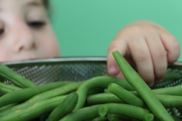 touching green beans