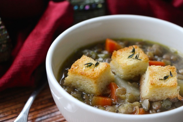 lentil soup served with croutons