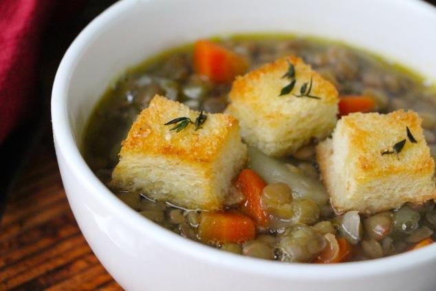 lentil soup with croutons up close