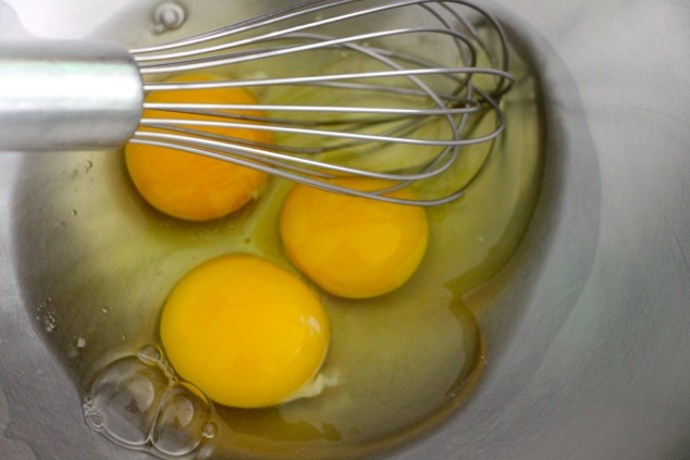 three eggs in a bowl