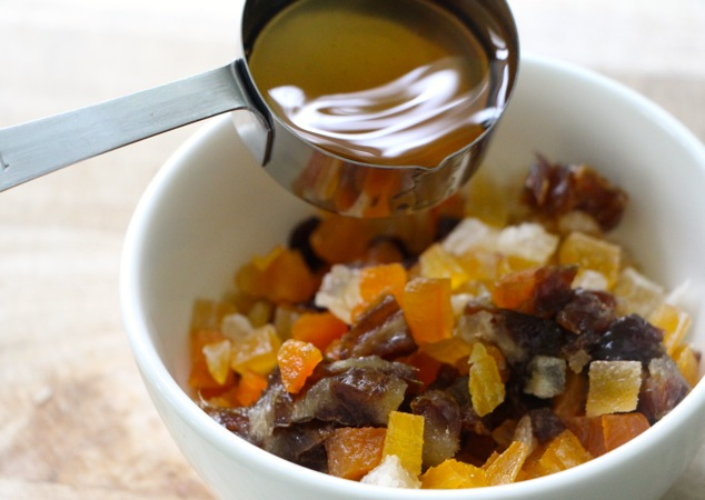 adding brandy to dried fruits
