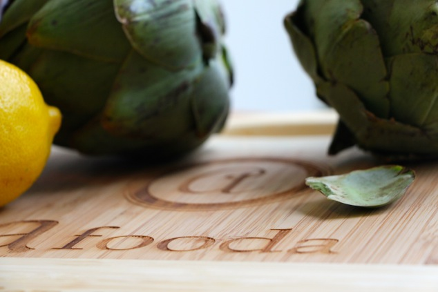 artichokes on afooda cutting board up close