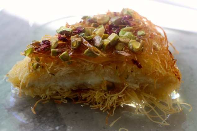 a piece of Knafeh up close