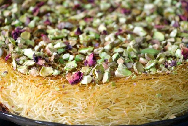 pistachios onto Knafeh