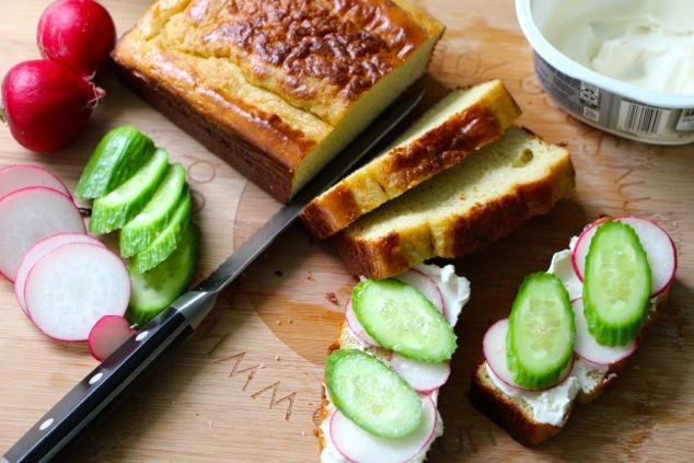 preparing sandwiches from tehina bread