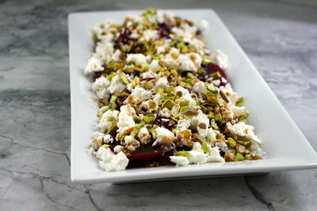 beet goat chees pistachio salad ready
