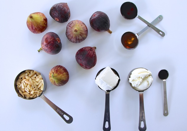 Fresh Figs with cheese almonds and honey ingredients