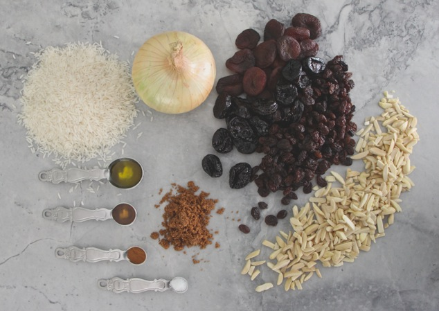 Rosh Hashanah white rice with dried fruit ingredients