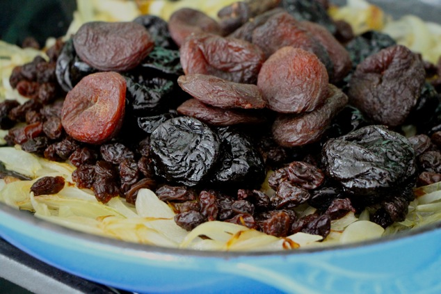 adding dried fruit to pan