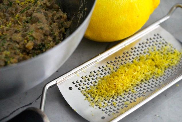 adding lemon zest to mixture