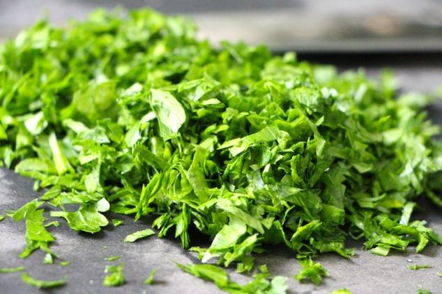chopped parsley up close