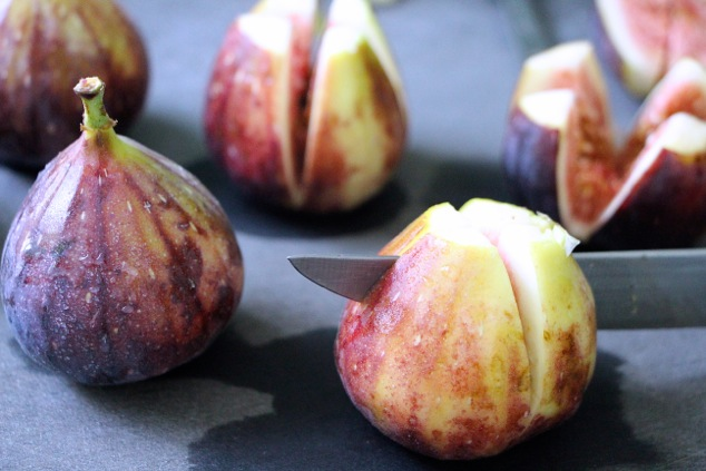 cutting fresh figs up close
