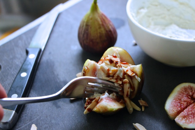 eating fresh figs with sweet cheese mixture