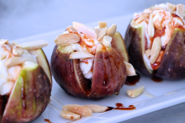 fresh figs with sweet cheese served