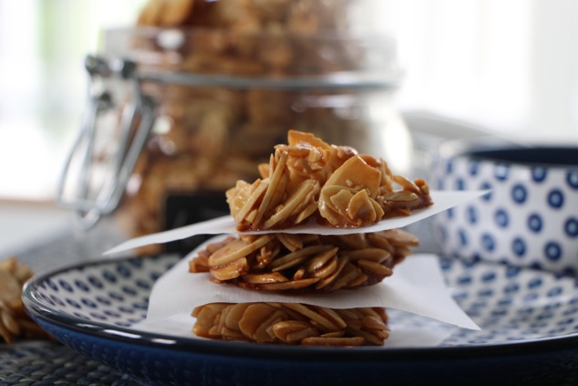 sliced almond cookies are ready close up