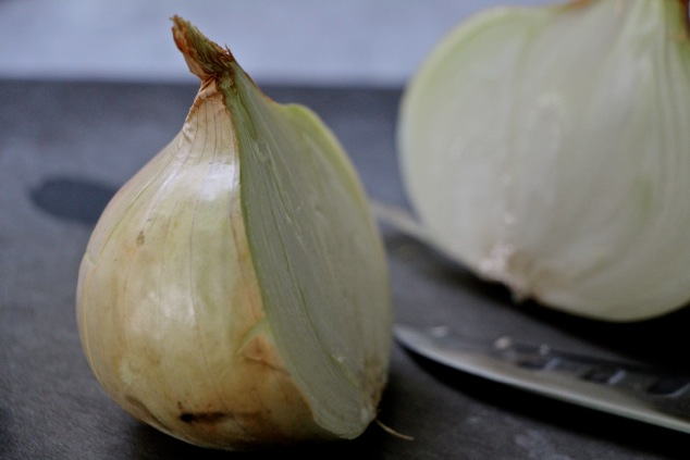 sweet onion cut in half