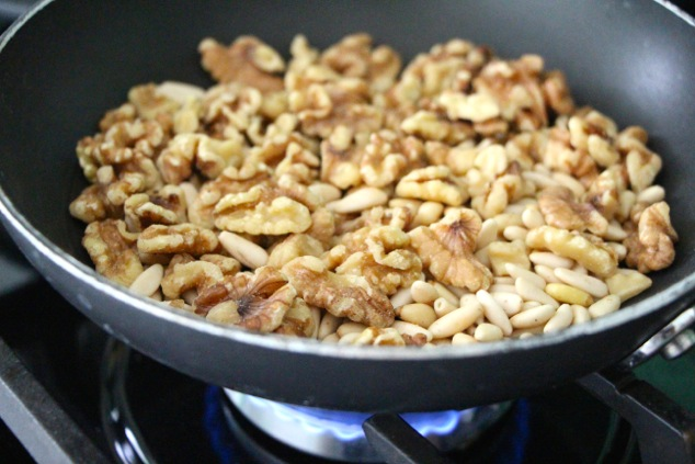 toasting walnuts and pine nuts