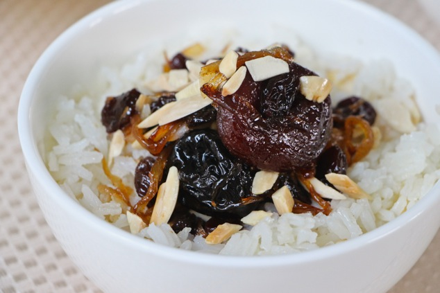 white rice and dried fruit ready to eat up close