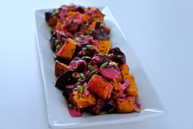 Thanksgiving roasted beets and butternut squash on a serving dish