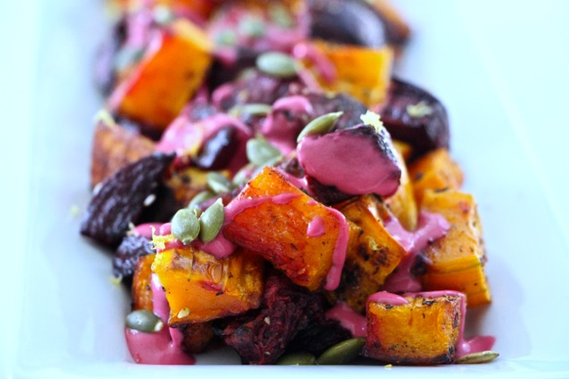 Thanksgiving roasted beets and butternut squash served up close