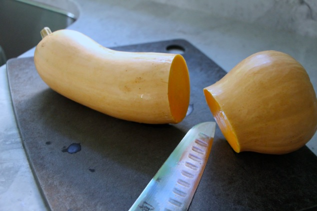 butternut squash cut in half