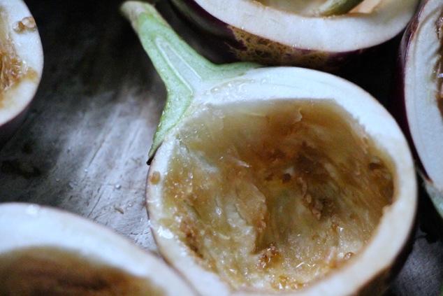 halved empty eggplants with sprinkled salt