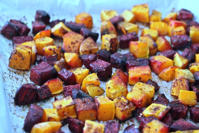 roasted beets and butternut squash ready on tray