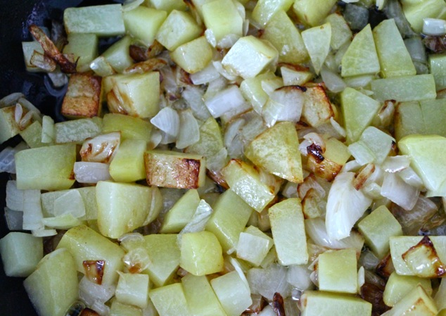 sautéing onions and potatoes