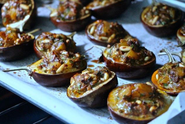 stuffed eggplants baking in the oven