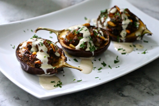stuffed eggplants served with Tehina
