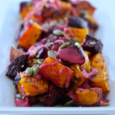 A Middle Eastern Inspired Thanksgiving – Roasted Beets & Butternut Squash topped with Pumpkin Seeds, Pink Tehina and Lemon Zest