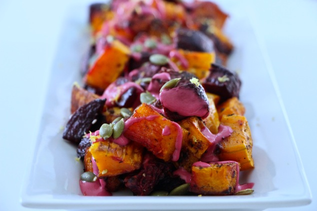thanksgiving roasted beets and butternut squash served