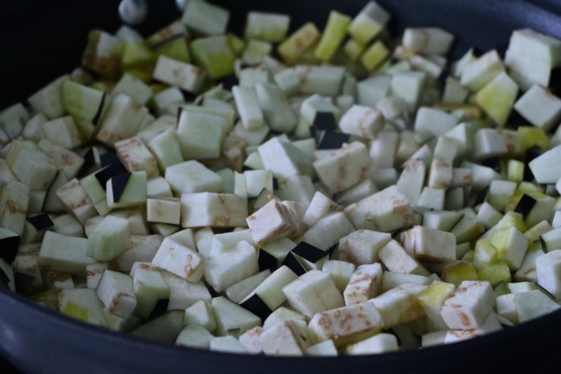 eggplant cubes in pan