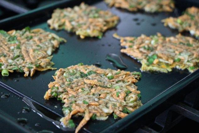frying latkes on griddle