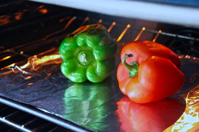 peppers starting to roast in the oven