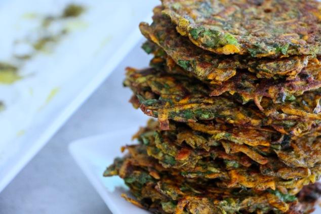 stack of sweet potato kohlrabi latke up close
