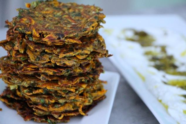 stack of sweet potato kohlrabi latkes