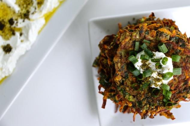 sweet potato kohlrabi latkes served from above